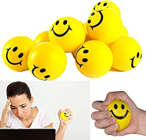 Toy Cubby Smiley Face Stress Ball, Yellow, 24 Piece