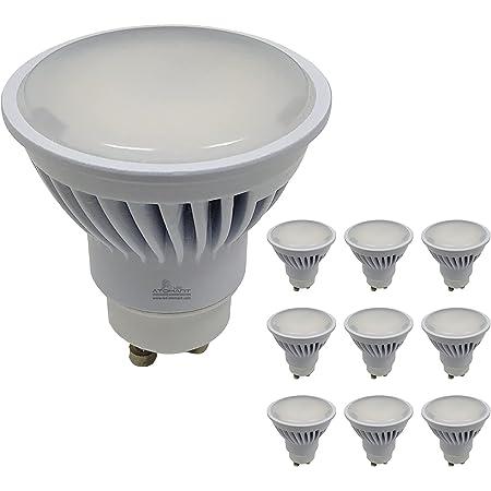 Pack 10x GU10 LED 8,5W Potentísima. 970 lúmenes. Color Blanco Neutro (4500K). Única con ángulo 120 grados.