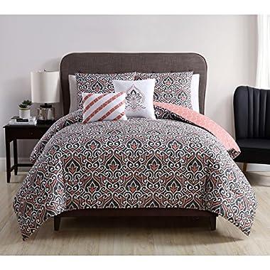 VCNY Home Corliss Coral Reversible 5-piece Comforter Set Queen