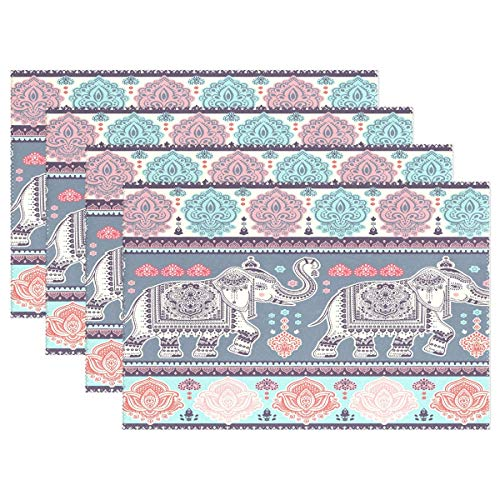 Promini Vintage Graphic Indian Lotus Ethnic Elephant Tischsets, Polyester, 30,5 x 45,7 cm, 4 Stück