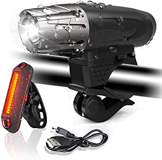 Bike Light Set, LED Bicycle Light USB Rechargeable Waterproof 4 Modes, LED Front Headlights and Rear Taillight Mountain Bi...