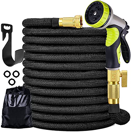 Furnizone 100 ft Expandable Garden Hose with 9 Function Nozzle,4-Layer Latex Core Flexible Leakproof Water Hose with Solid 3/4
