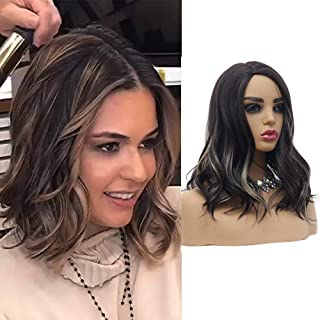 Suri 16 Inches Short Wave Bob Synthetic Wigs Side Part, Dark Brown Mixed Blonde Color, Natural Looking Curly Heat Resistant Synthetic Hair, Cosplay Costume High Temperature Fiber Wig Cap Included