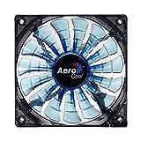 Aerocool SHARK - Ventilador gaming para PC (14 cm, 12V/7V, 15 aspas, 14.5 dBA, 1500rpm, iluminación LED azul, ultrasilencioso, antivibración, cables enmallados), color azul