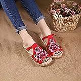 RHH Shop Lotus Bordado Mujer Ropa de algodón Zapatillas Planas Zapatillas de Verano Damas Hechas a Mano cómodas Zapatos de alparceles (Color : Red, Size : 39 EU)
