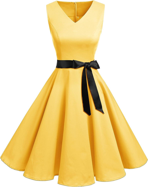 Bridesmay Women's Classy VNeck Audrey Hepburn 1950s Vintage Rockabilly Swing Dress Yellow Small
