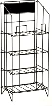 Displays2go Wire Newspaper Stand with 4 Shelves, Free-Standing, Adjustable-Height Pockets with Nameplate - Black