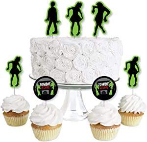 Big Dot of Happiness Zombie Zone - Dessert Cupcake Toppers - Zombie Crawl Clear Treat Picks - Set of 24