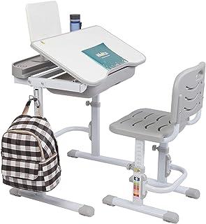 Bureau Enfant avec Hauteurs Réglables, Ensemble Multifonctionnel de Chaise de Bureau d'étude des Enfants, Table d'étude d'...