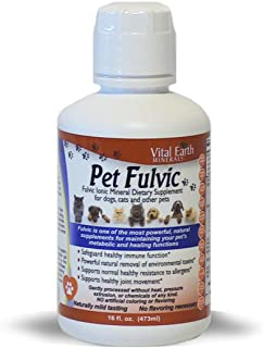 Pet Fulvic by Vital Earth Minerals 16 Fl. Oz. for Dogs, Cats and Other Pets. Healthy Ionic Trace Minerals Multimineral Ful...