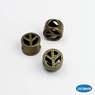LolliBeads (TM) Jewelry Making Antique Brass Bronze Vintage Style Round Bead Spacer with Large Hole ~Hollow Peace~ (30 Pcs)