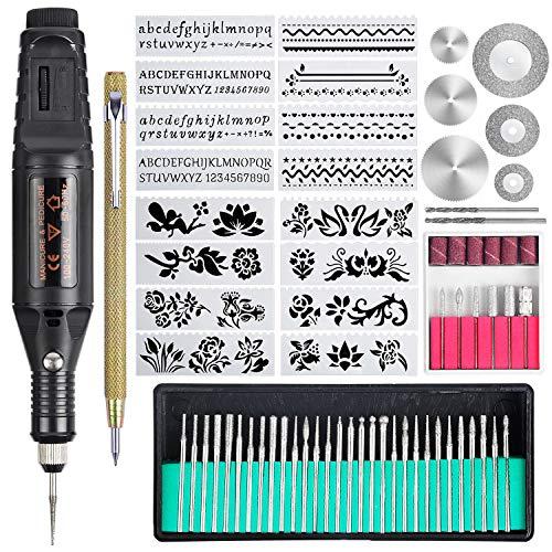 108 herramientas de grabado, bolígrafo grabador con cable, multifuncional, herramienta rotativa para bricolaje, joyas, vidrio, madera,...
