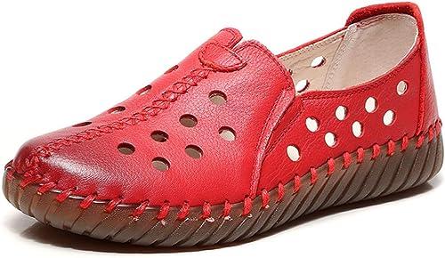 Sandales pour Femmes en Cuir, Un Pied, Pied, Chaussures Creuses, Chaussures pour Femmes Enceintes, Sauvages et sauvages-rouge-40