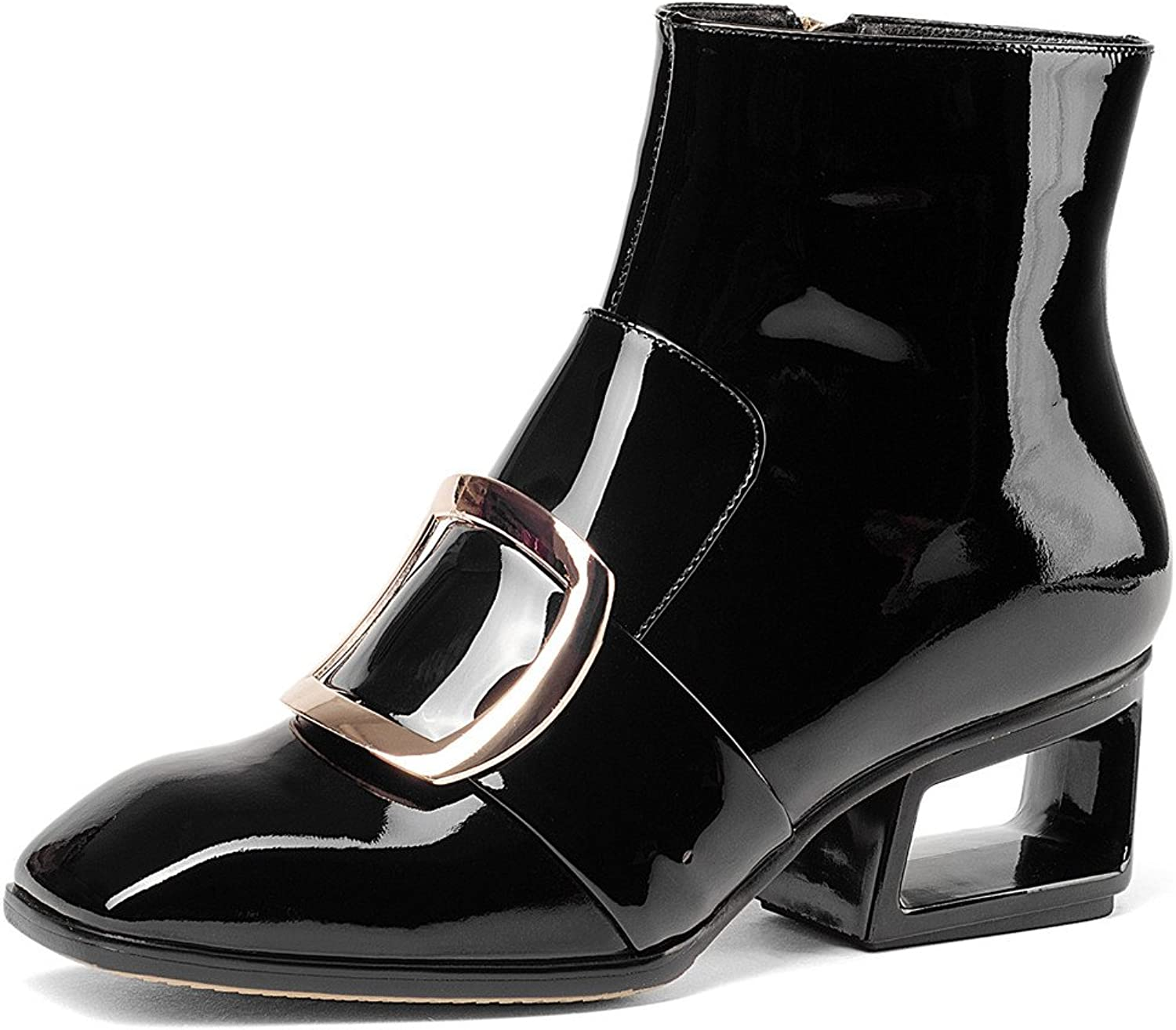 Nine Seven Patent Leather Women's Square Toe Exquisite Heel Handmade Elegant Sexy Ankle Boots