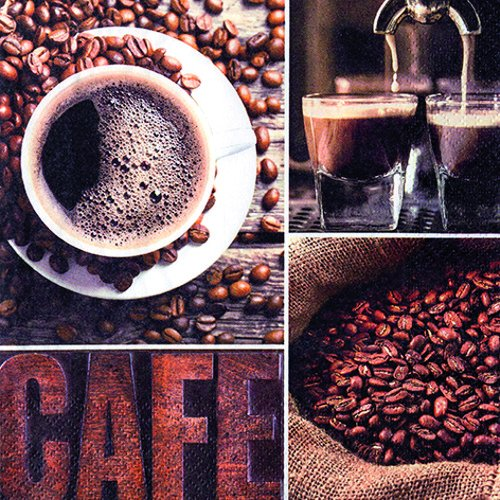 20 Servietten Kaffee Aroma/Getränk/Tasse/Espresso 33x33cm