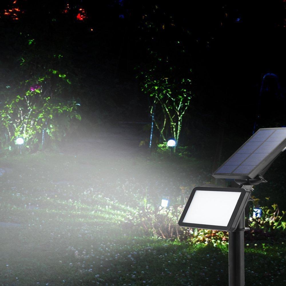 Solar luces, Jardín Luces, 48 LED Solar Leuchten IS Dawn automática encendido/apagado (Sensor de luz), resistente al agua IP65, Solar Foco Luz para césped, Jardín, piscina, Terraza: Amazon.es: Iluminación