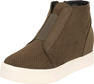 Cambridge Select Women's Perforated Stretch Chunky Mid Hidden Wedge Fashion Sneaker