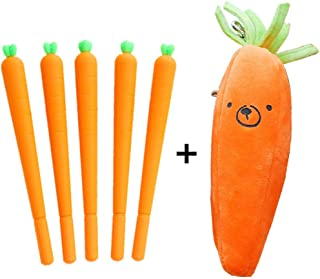 Funnylive Cute Carrot Gel Ink Roller Ball Pens (0.5mm) and Carrot Pencil Case Carrot Pen bag Stationery Bags Excellent Gift for Your Kids