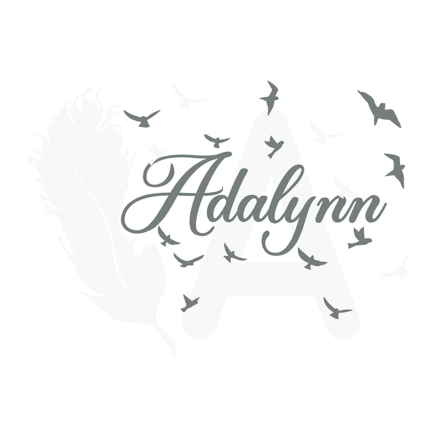 Finally resale start Girl Finally popular brand name wall decal baby decor room monogram feather n