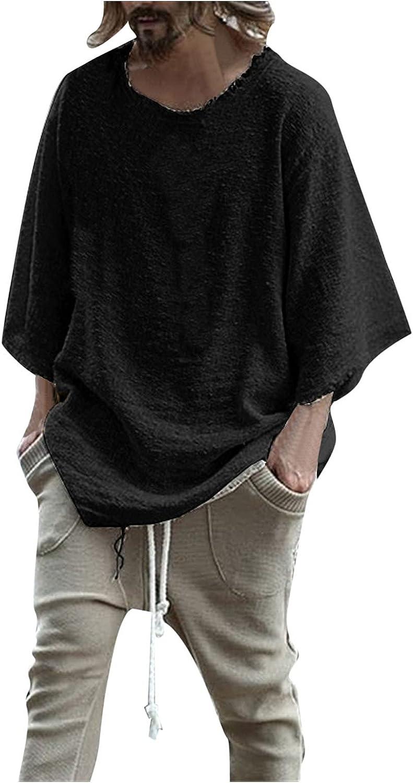 FORUU Mens Cotton Linen Shirts 2021 Fall Casual Long Sleeve Shirts Fashion O-Neck Tops Solid Loose Tees Linen Shirts