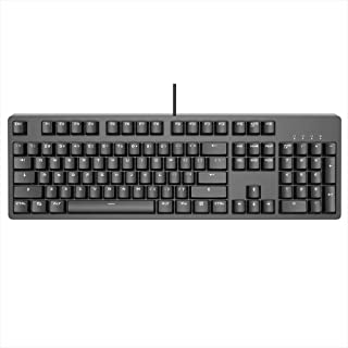 Decdeal Mechanical Keyboard Professional Gaming Keyboard Blue Switch Wired White Backlit Keyboard Blue Switch (Black)