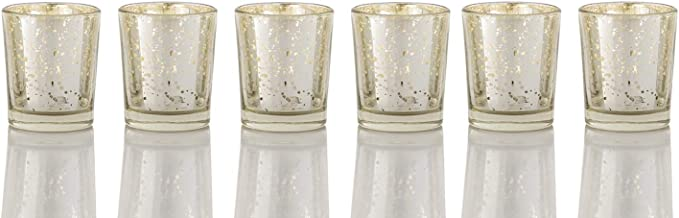 ARTISANS VILLAGE Mercury Glass Votive Candle Holders - Bulk Set of 12, Silver Candle Holders for Tables at Weddings, Parti...