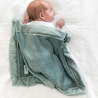 SARANONI Super Soft Fluffy Lush Mini Baby Security Blanket 15x20 Eucalyptus