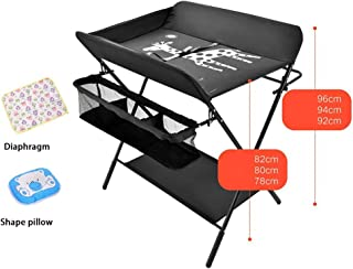 Black-Multifunctional Crib, Baby Changing Table, Baby Care Table Baby Room Operation Table, Touch Table, Portable Folding Diaper Station Three Gear Adjustments (Color : Black, Size : B)