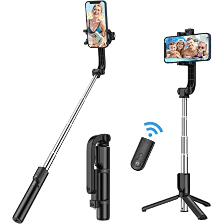 Yoozon Selfie Stick Phone Tripod, All in One Extendable & Portable iPhone Tripod Selfie Stick with Wireless Remote, Compatible with iPhone 13 Pro Max/13 Mini/13/12, Galaxy S21/Note 20/S10, Google etc