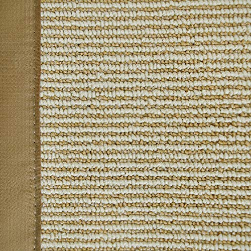 iCustomRug Zara Synthetic Sisal Collection Area Rug and Custom Size Runners, Softer Than Natural Sisal Rug, Stain Resistant & Easy to Clean Beautiful Border Rug in Gold 4' x 6'