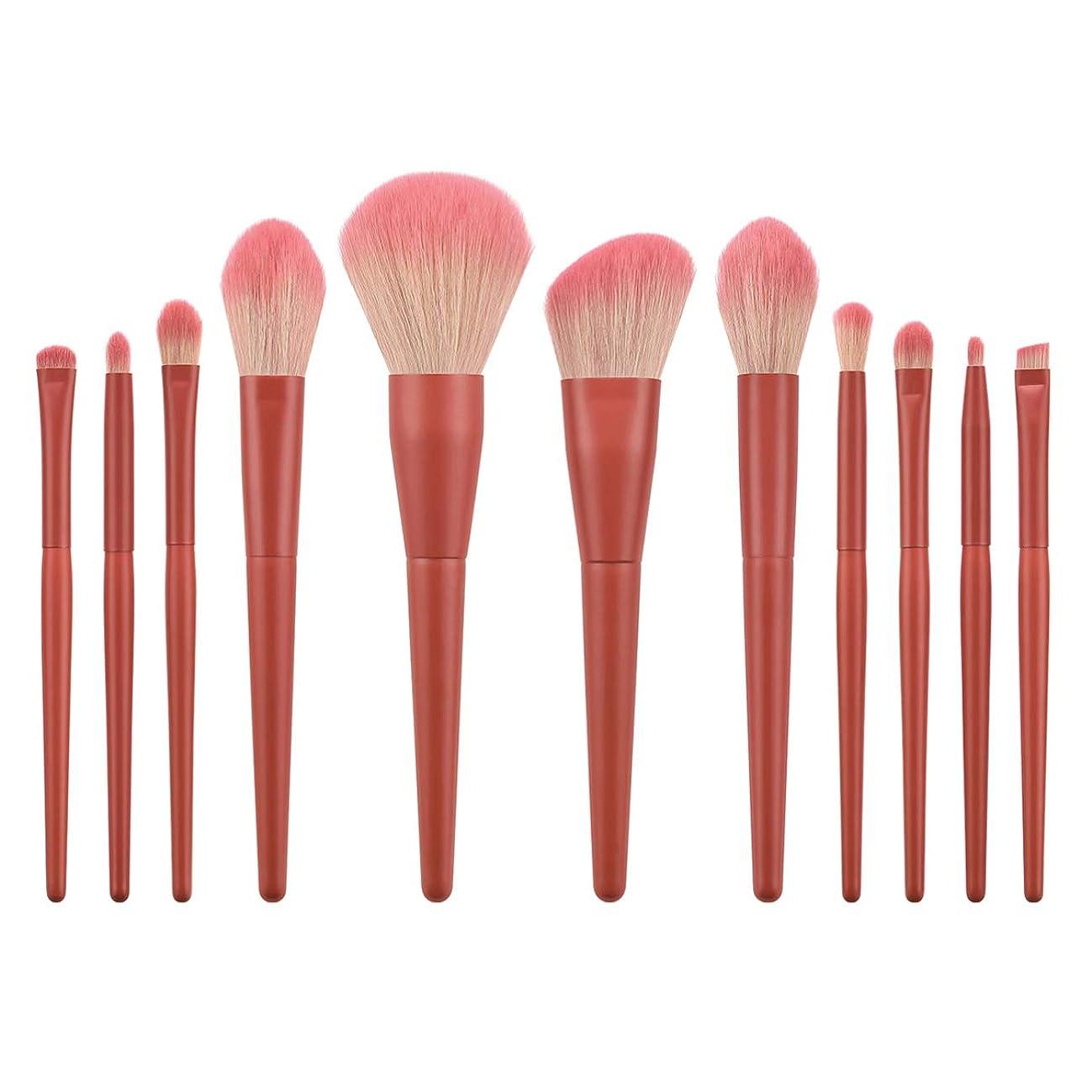 獣人里離れた進むLurrose 11ピースソフトナイロン毛化粧ブラシキット木製ハンドル化粧品パウダー赤面ブラシ女性(t-11-019)