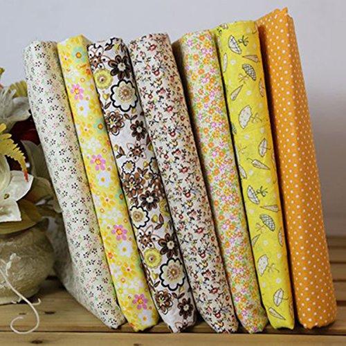 7 piezas de algodón de 25 cm para Patchwork en tonos amarillos