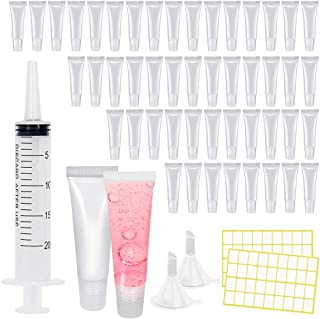 Eathtek 100PCS 10ML Lip Gloss Tubes, Mini Clear Empty Lip Balm Containers Refillable Soft Cosmetic Tubes for DIY Lip Gloss...