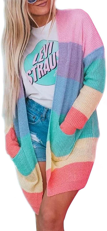 ZESICA Women's Long Sleeve Striped Color Block Open Front Draped Loose Knit Lightweight Cardigan Sweater Coat