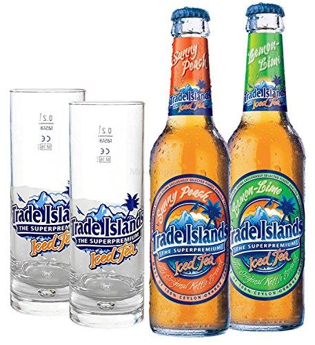 Trade Island Eistee Peach 330ml + Lemon 330ml + 2x Gläser 0,2l geeicht - Inkl. Pfand MEHRWEG