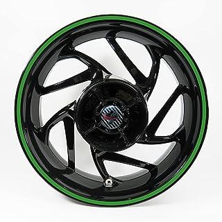 BIKE-label Fälgkant klistermärke set uni grön bredd 9 mm – hela cirkeln för 16 tum 17 tum 18 tum bil motorcykel 700808VA