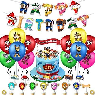 Paw Dog Patrol Party Supplies Set Decoraciones para fiesta de cumpleaños Los favores de la fiesta incluyen globos Cumpleaños Banner Toppers para tartas para niños Cumpleaños Paw Theme Party Supplies de caicainiu