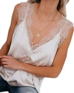 Womens Sexy Silk Tank Top Lace V Neck Loose Sleeveless Blouse Satin Cami Shirt