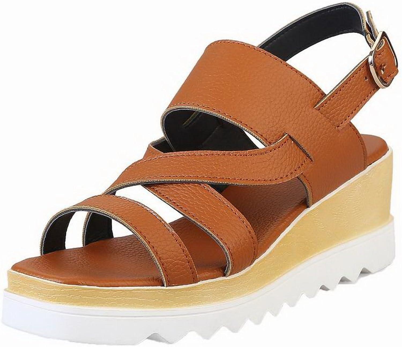 AmoonyFashion Women's Solid Pu Kitten-Heels Open-Toe Buckle Sandals, BUTLT006529