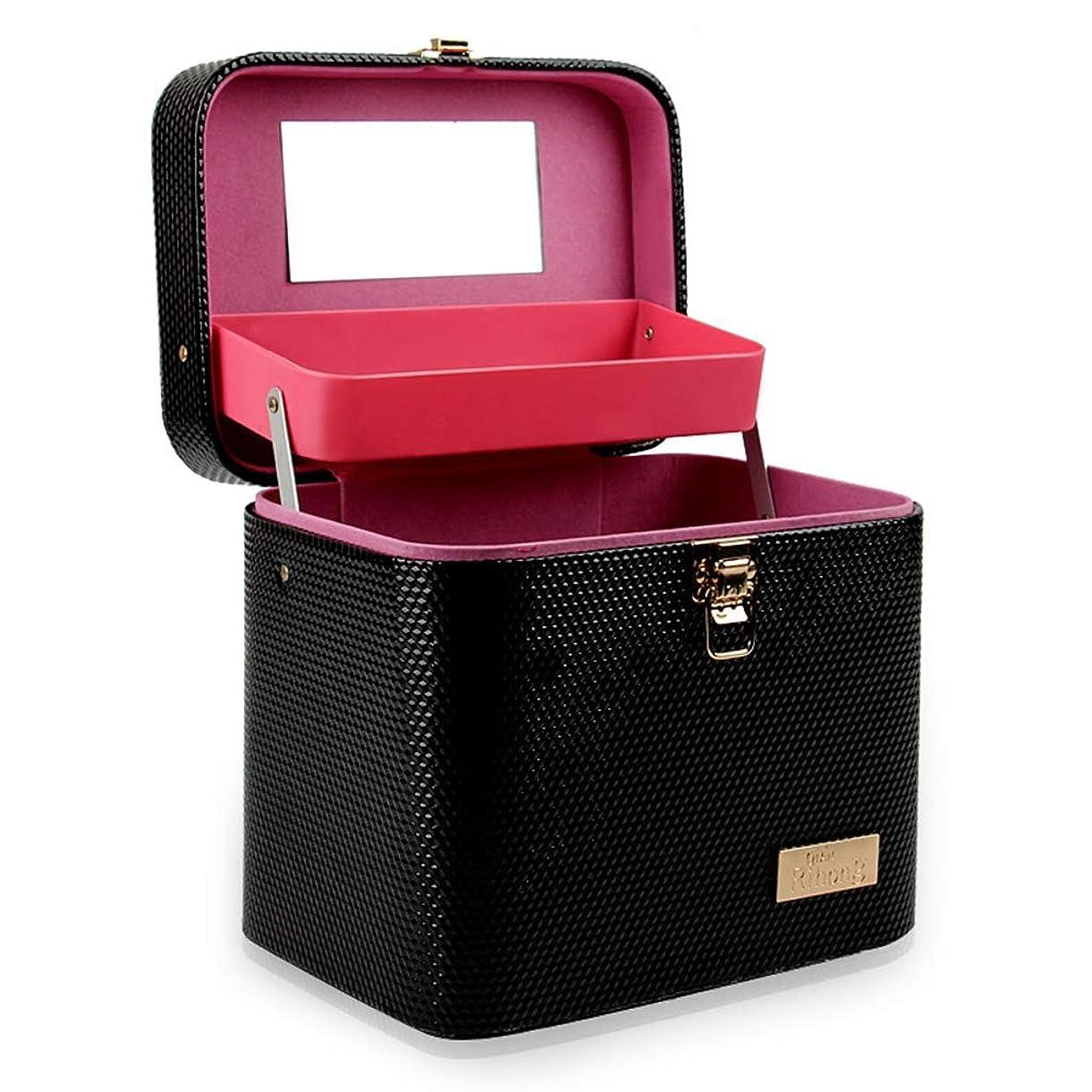 劣る柔らかい壮大[テンカ]メイクボックス コスメボックス 黒 化粧箱 鏡付き 収納ボックス 収納ケース 化粧品?化粧道具入れ 自宅?出張?旅行?アウトドア撮影 プロ用 大容量 取っ手付 多機能