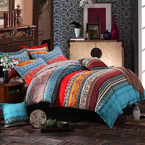 Nanko Queen Duvet Cover Set Boho Colorful Retro Striped Print 3pc 90 x 90 Luxury Soft Microfiber Down Comforter Quilt Bedding Cover with Zipper Ties - Bohemian Exotic Style for Men and Women Red Blue