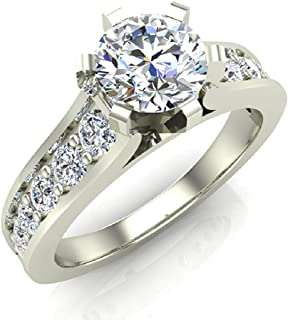 Round Brilliant Diamond Engagement Rings for women 18K Gold 1.00 ctw (G, SI)