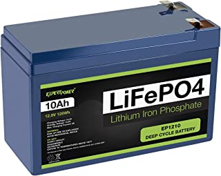 ExpertPower 12V 10Ah Lithium LiFePO4 Deep Cycle Rechargeable Battery | 2500-7000 Life Cycles & 10-Year lifetime | Built-in BMS