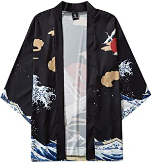 Xmiral Top Camicetta Mens Womens Summer Japanese Five Point Sleeves Kimono Cloak Jacke