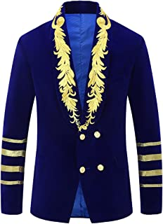 Mens Military Style Embroidery Velvet Blazer Suit Jacket