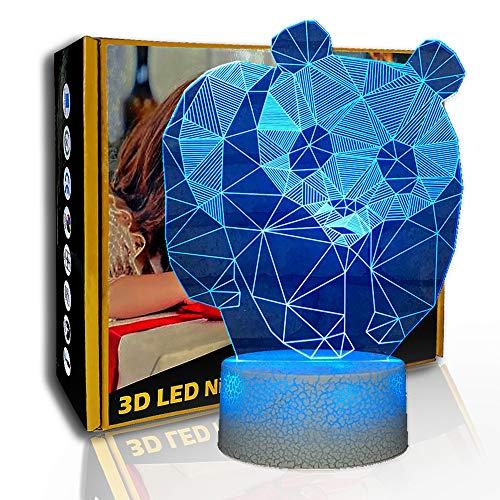 KangYD 3D schönes Panda Nachtlicht, LED visuelle Lampe, Kinderbett Geschenk, E - Alarm Clock Base (7 Farbe), Kunsthandwerk, Kunstnachtlampe, Moderne Lampe, Fashion Light