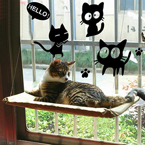 Katzenfenster Hängematte / Barsch für Sonnenbad, COUTUDI Bequemes stillstehendes Schlafbett für große Katzen-Miezekatze von bis zu 33lb (BONUS AUFKLEBER)