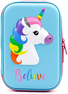 Unicorn Pencil Case for Kids, Cute EVA Hard Shell Pencil Case Pencils Holder with Compartments, Girls Cosmetic Pouch Bag Stationery Organizer (Blue)