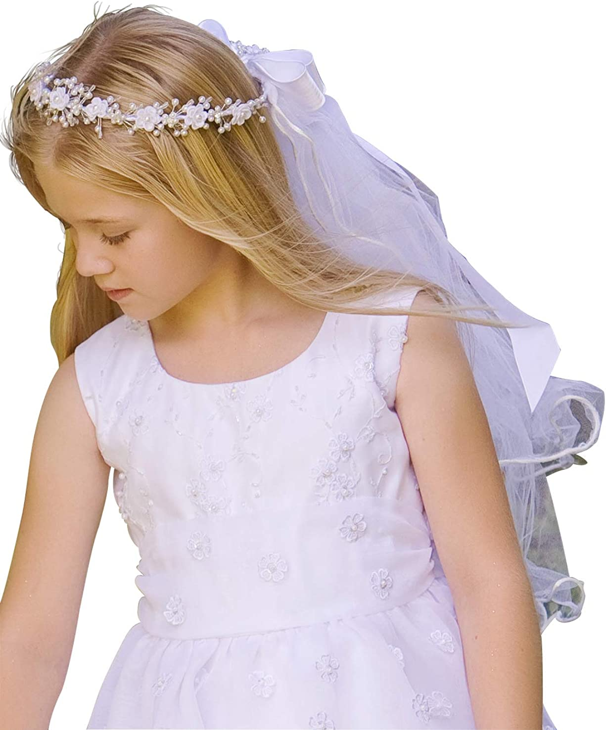 Swea Pea & Lilli Communion Veil for Girls - White First Communion Corded Rosebuds w/Bead Accents & Satin Ribbon
