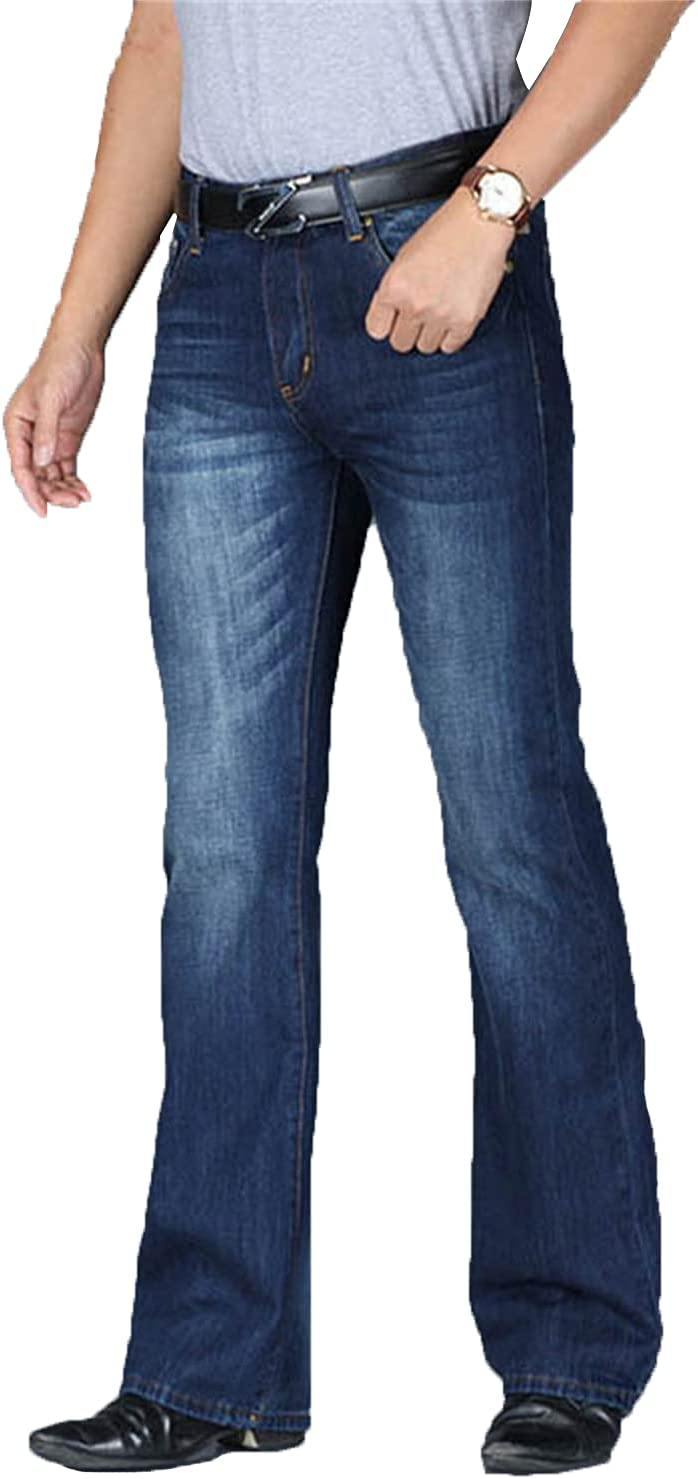Men's Retro Stretch Bell Bottom Jeans Classic Disco Fever Flared Leg Jeans Bell Jean Trousers (Navy Blue,27)